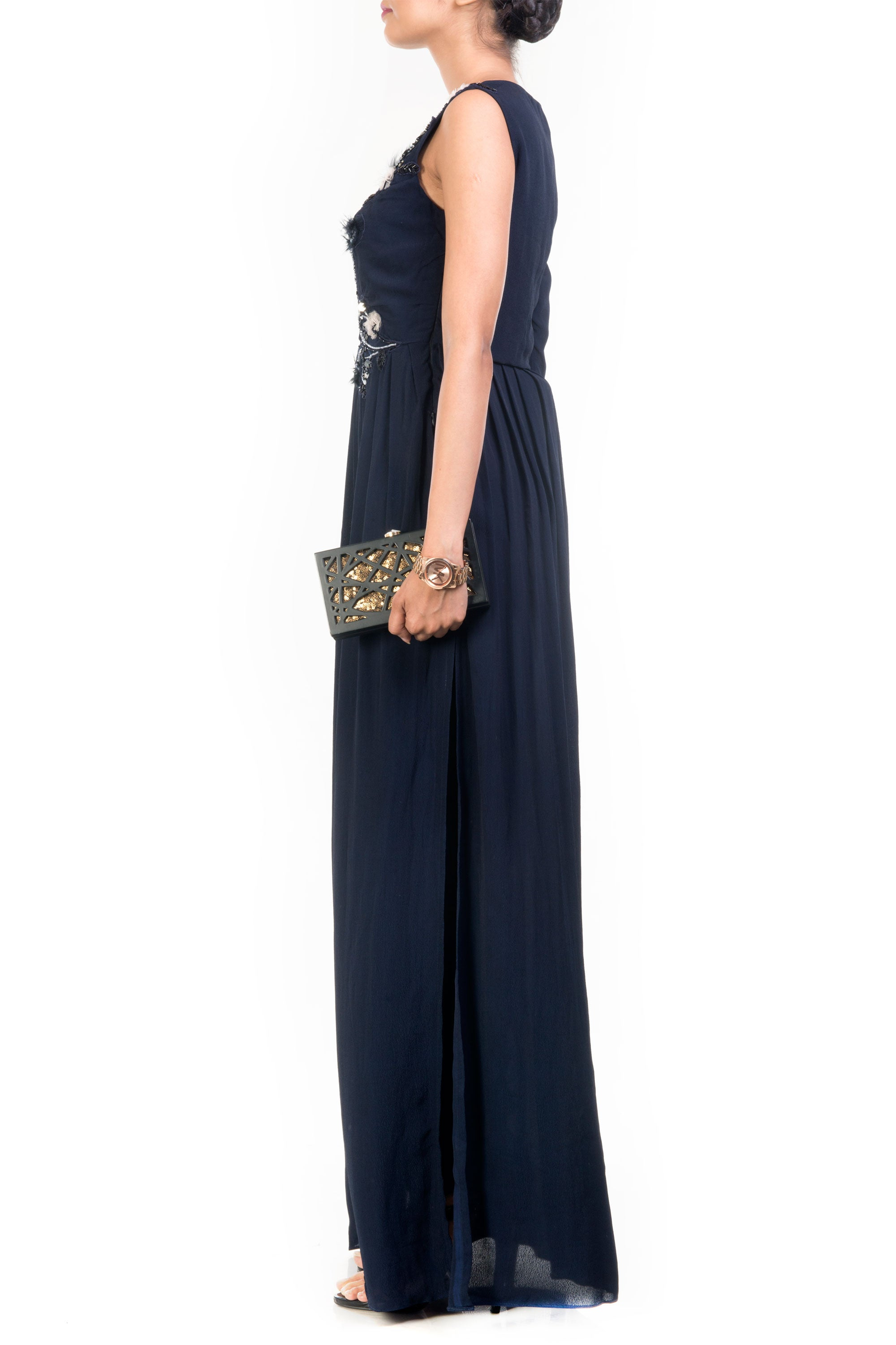 Midnight High Slit Maxi & Slim Fit Trouser Set Side