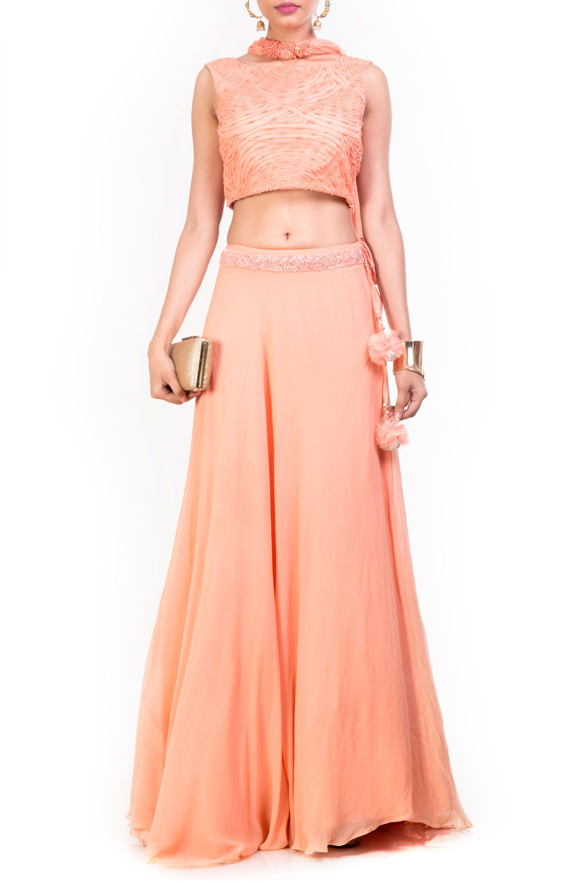 Crop Top Lehenga Set Front