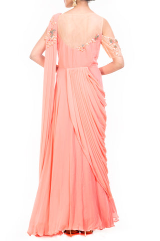 Peach Saree Drape Gown