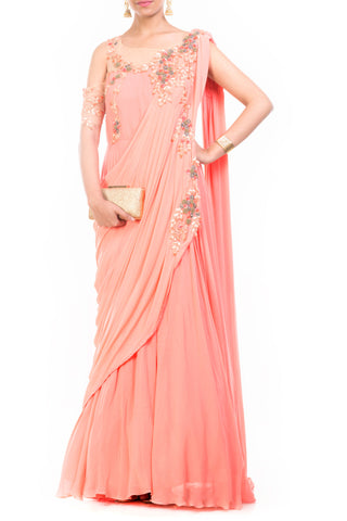 Peach Saree Drape Gown Front