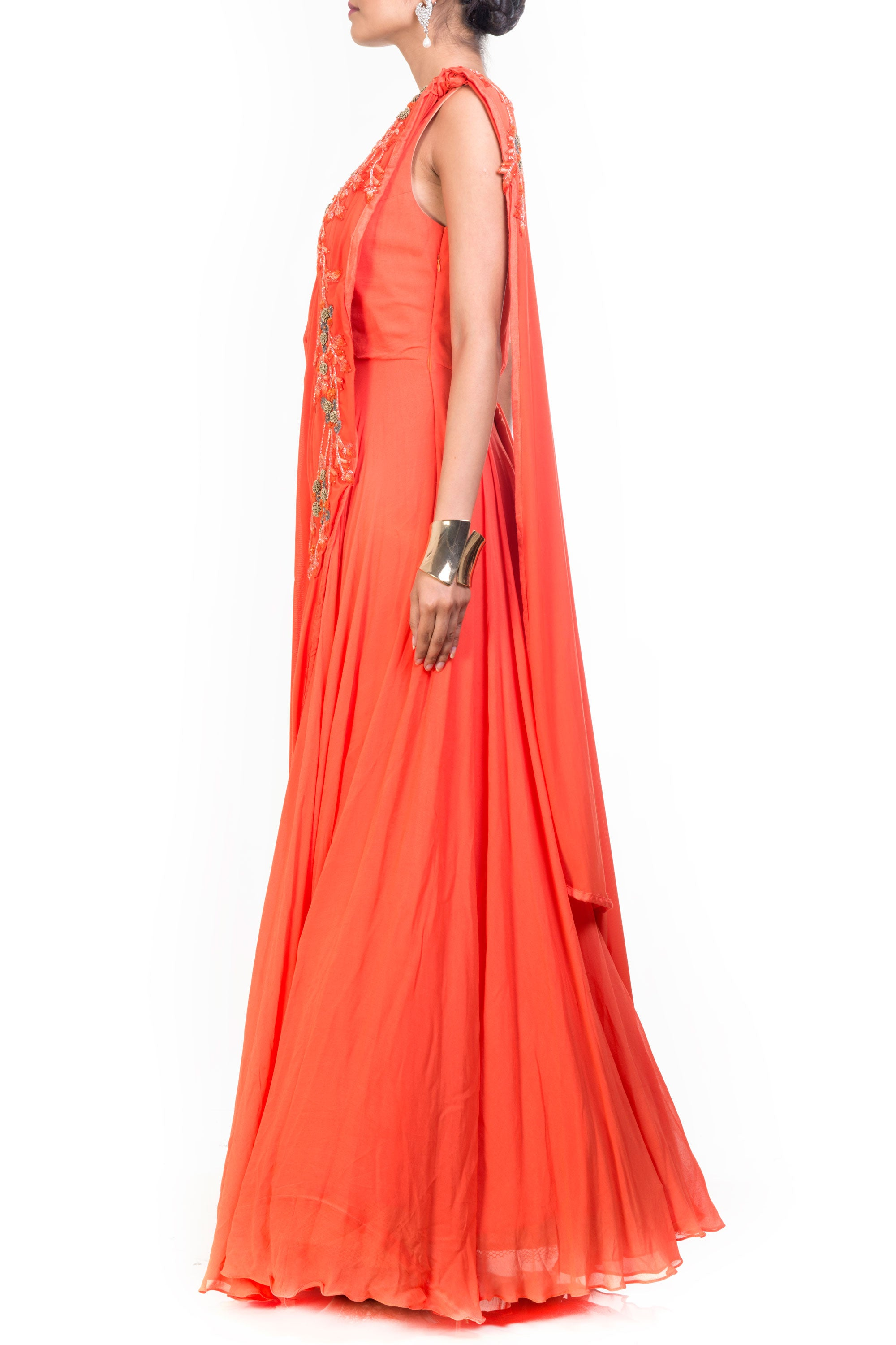 Tangerine Saree Drape Gown Side