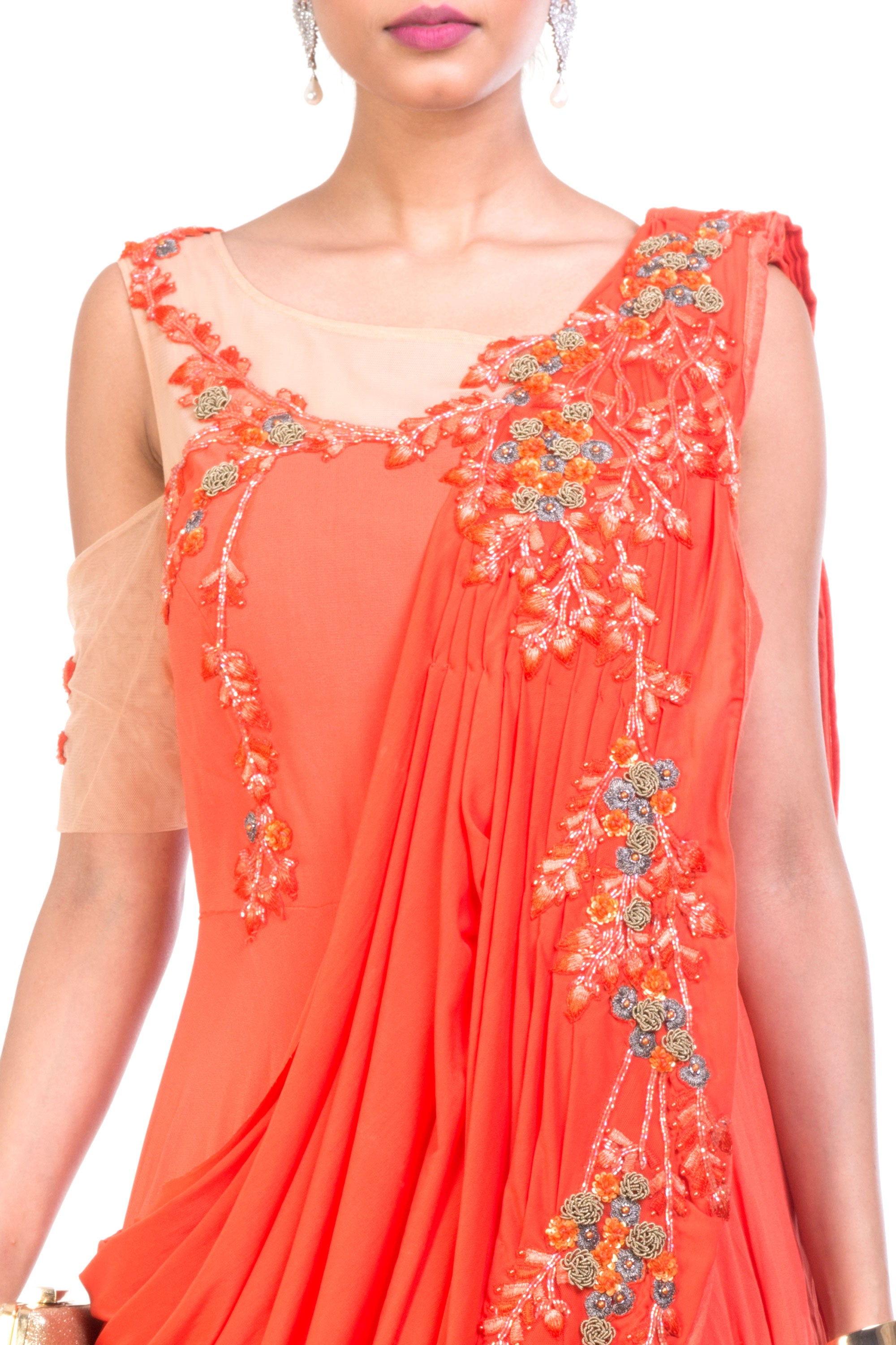 Tangerine Saree Drape Gown Closeup