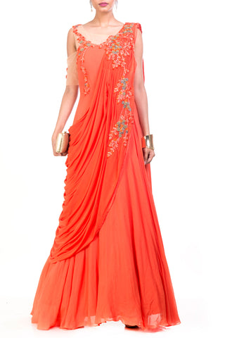 Tangerine Saree Drape Gown Front