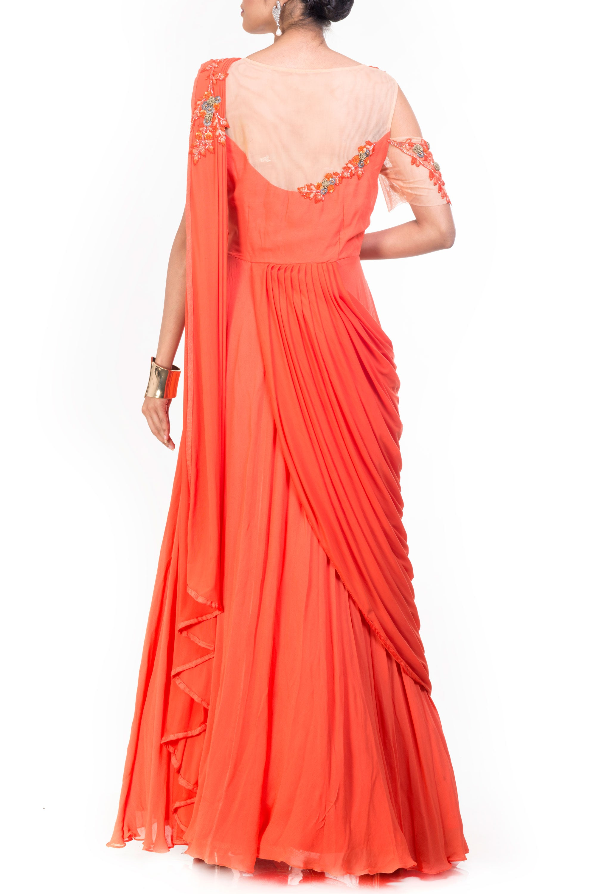 Tangerine Saree Drape Gown Back