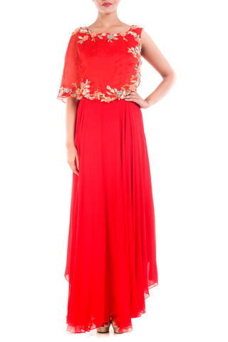 Blood Red Cape Gown Front