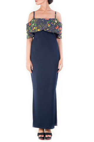 Bandeau Top midnight Blue Garden Print Dress Front