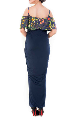 Bandeau Top Midnight Blue Garden Print Dress