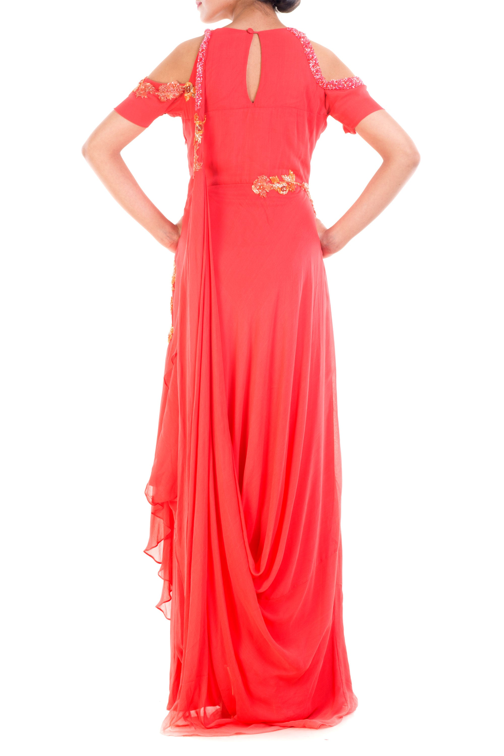 Bright Peach Cold Shoulder Gown Back