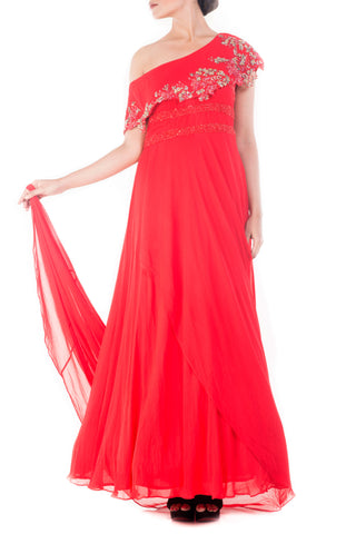 Bright Peach Drop Shoulder Trail Gown Front