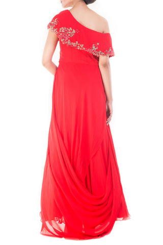 Bright Peach Drop Shoulder Trail Gown