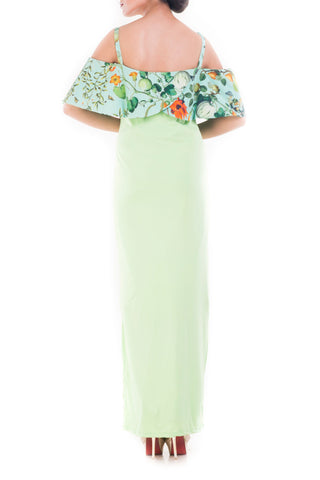 Bandeau Top Lime Green Garden Print Dress