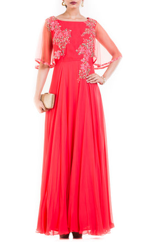 Coral Long Dress With Embroidered Half Cape Front