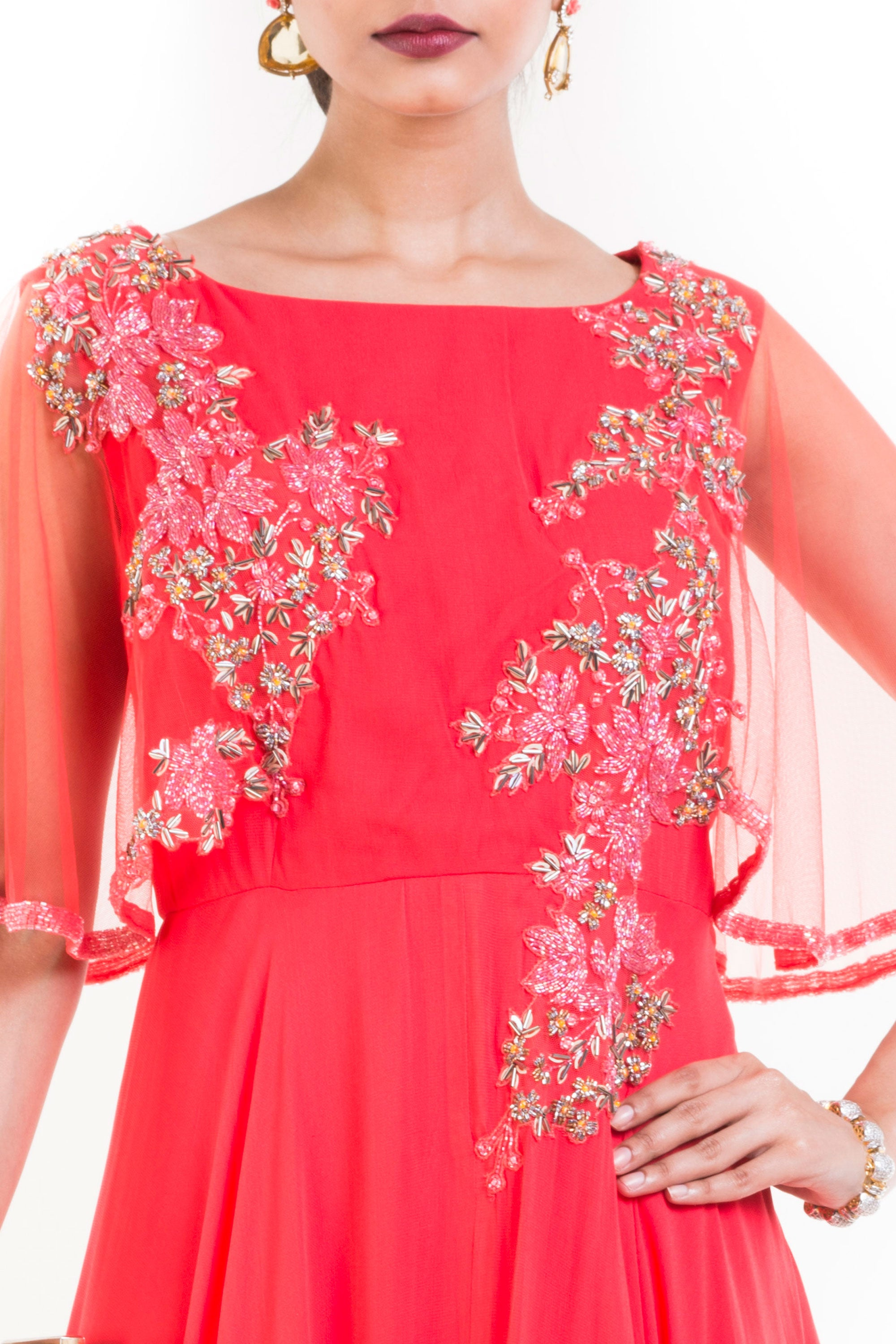 Coral Long Dress With Embroidered Half Cape Closeup