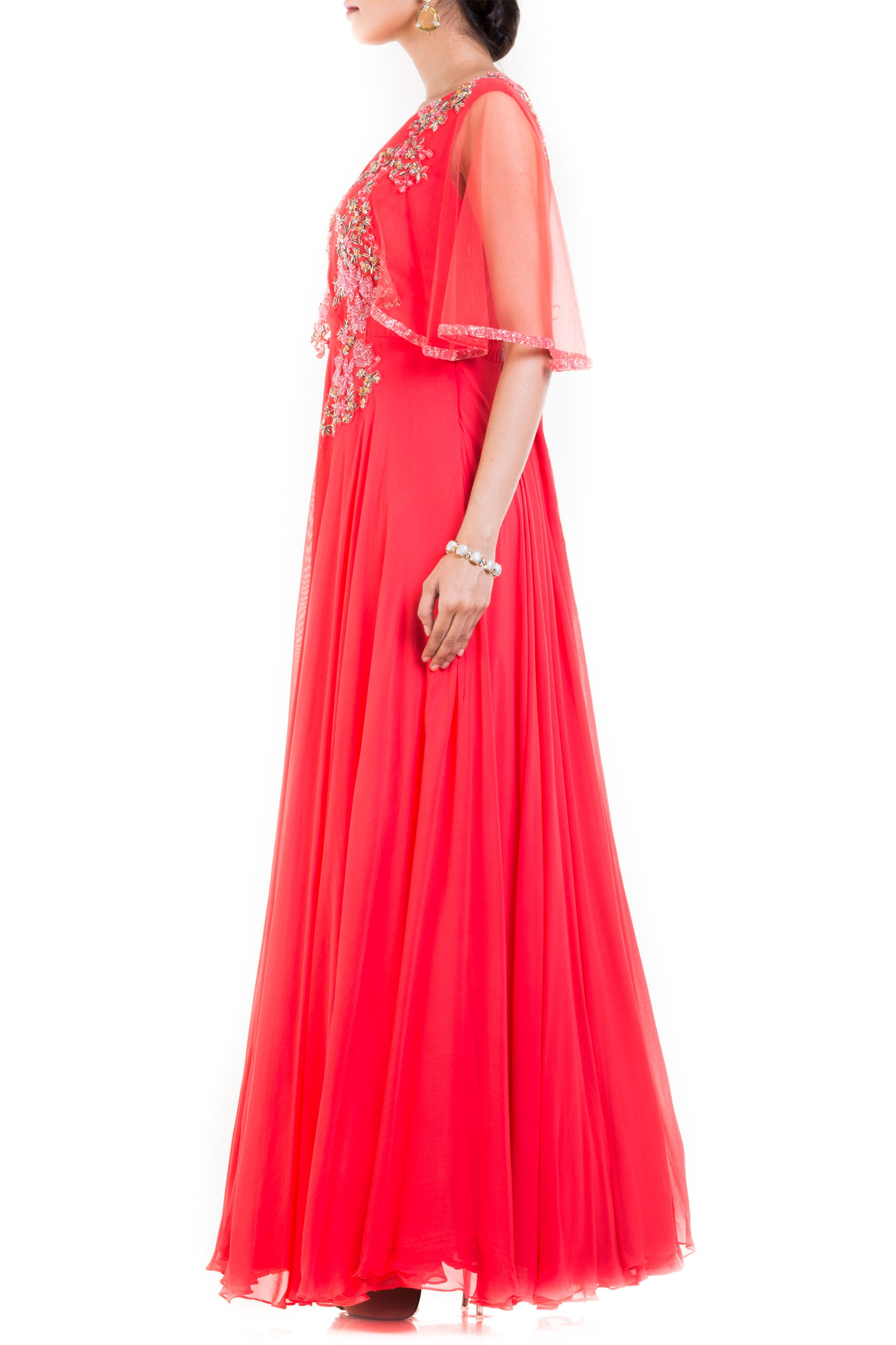 Coral Long Dress With Embroidered Half Cape Side