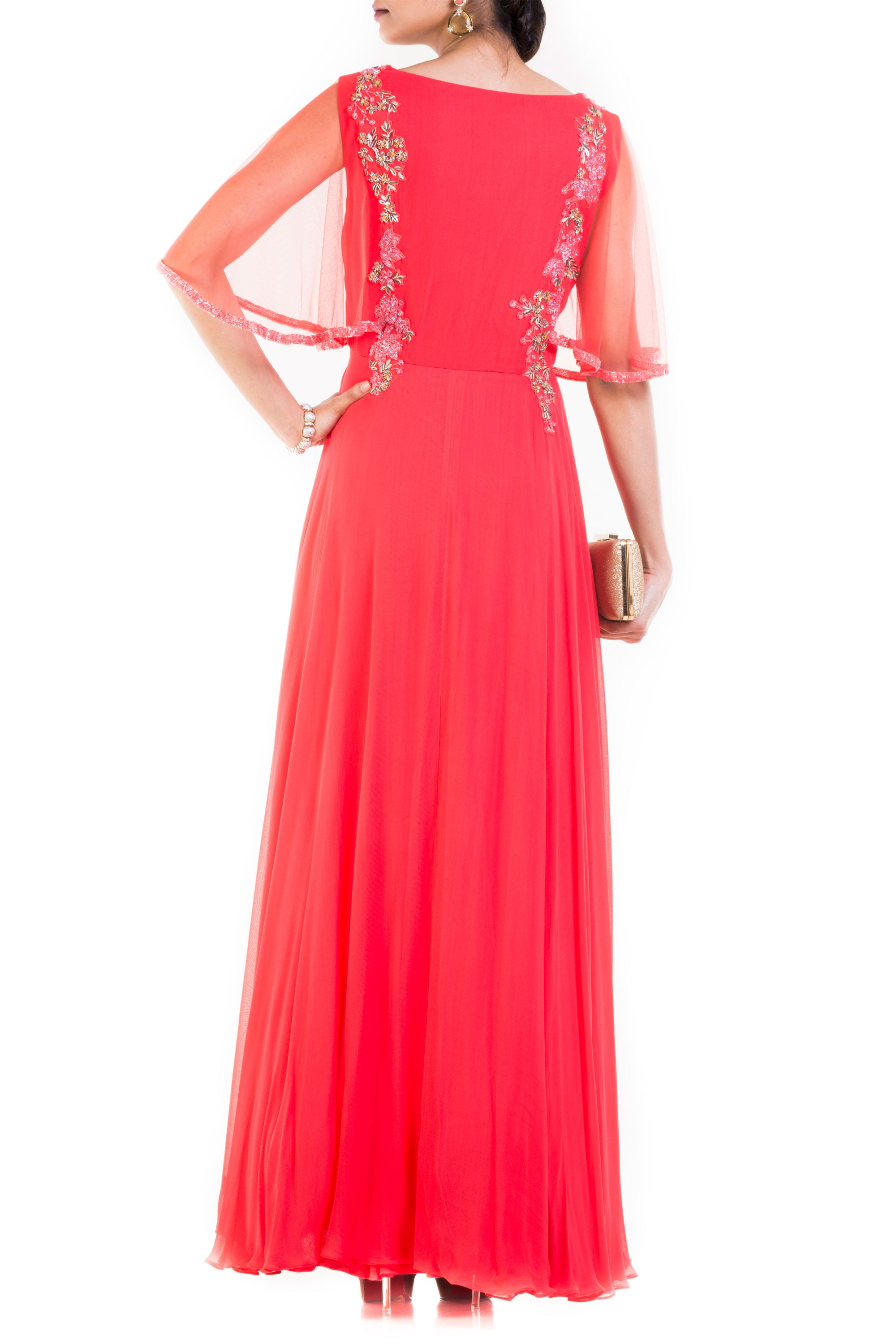 Coral Long Dress With Embroidered Half Cape Back