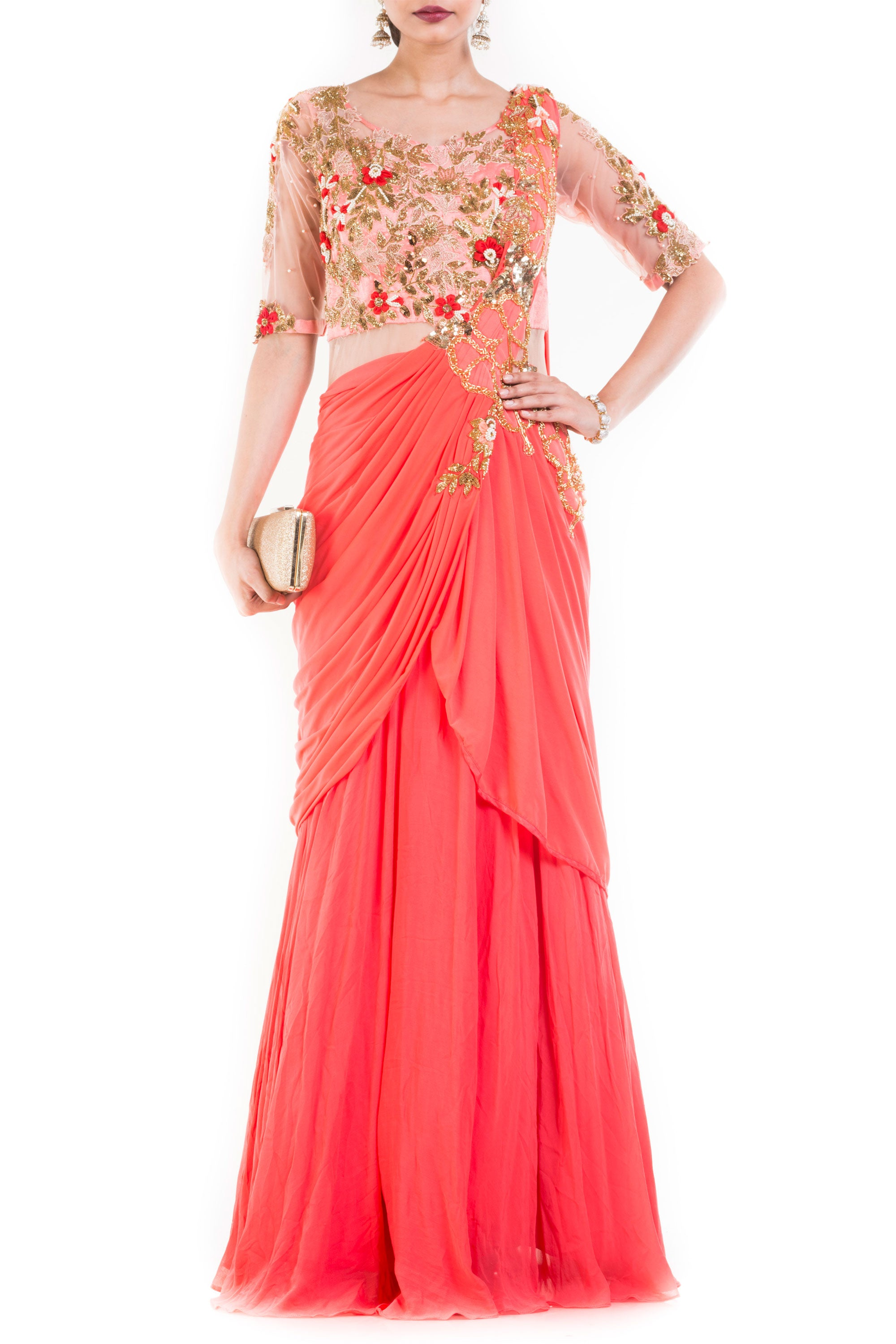 Salmon Peach Gown Saree Front