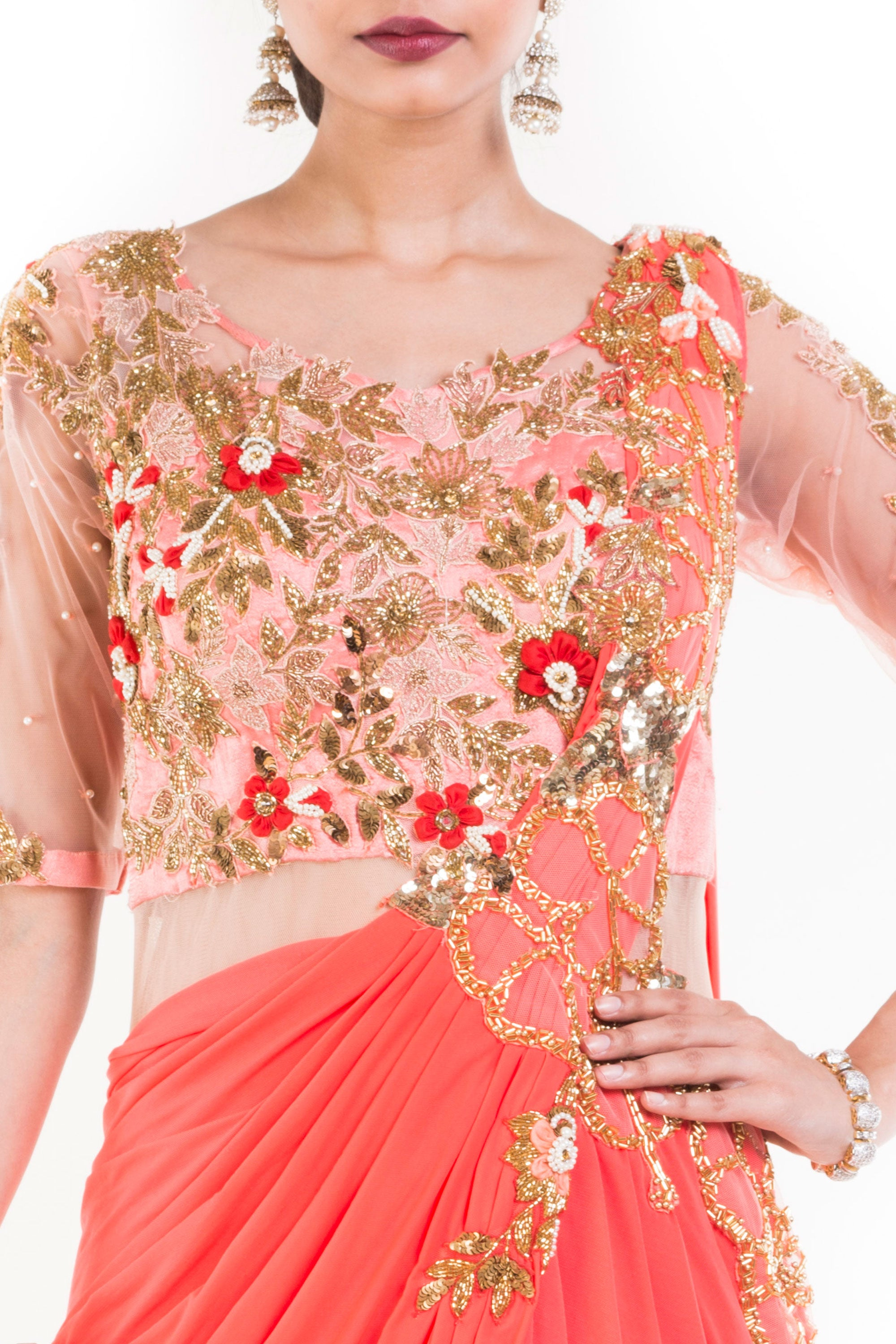 Salmon Peach Gown Saree Closeup
