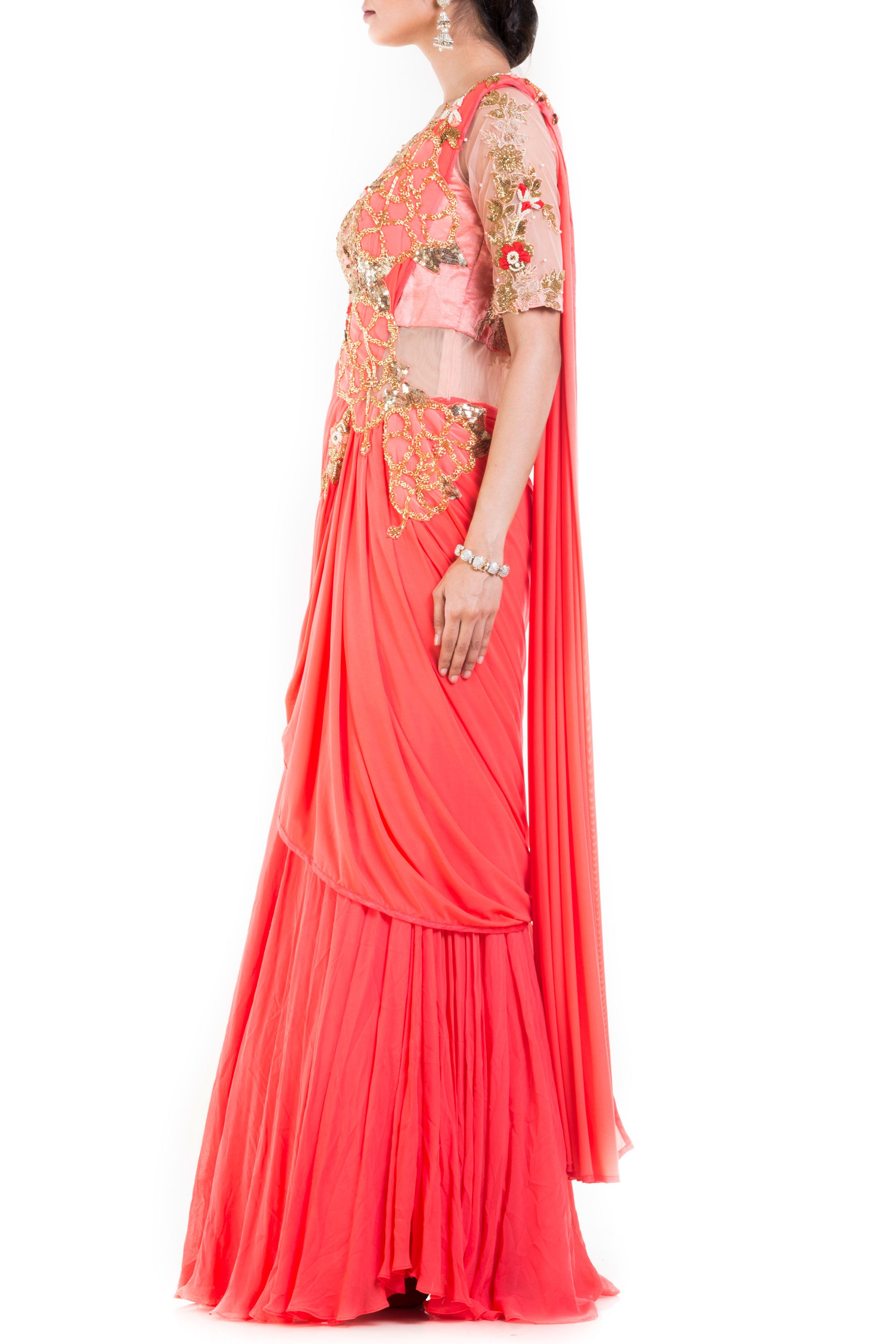 Salmon Peach Gown Saree Side