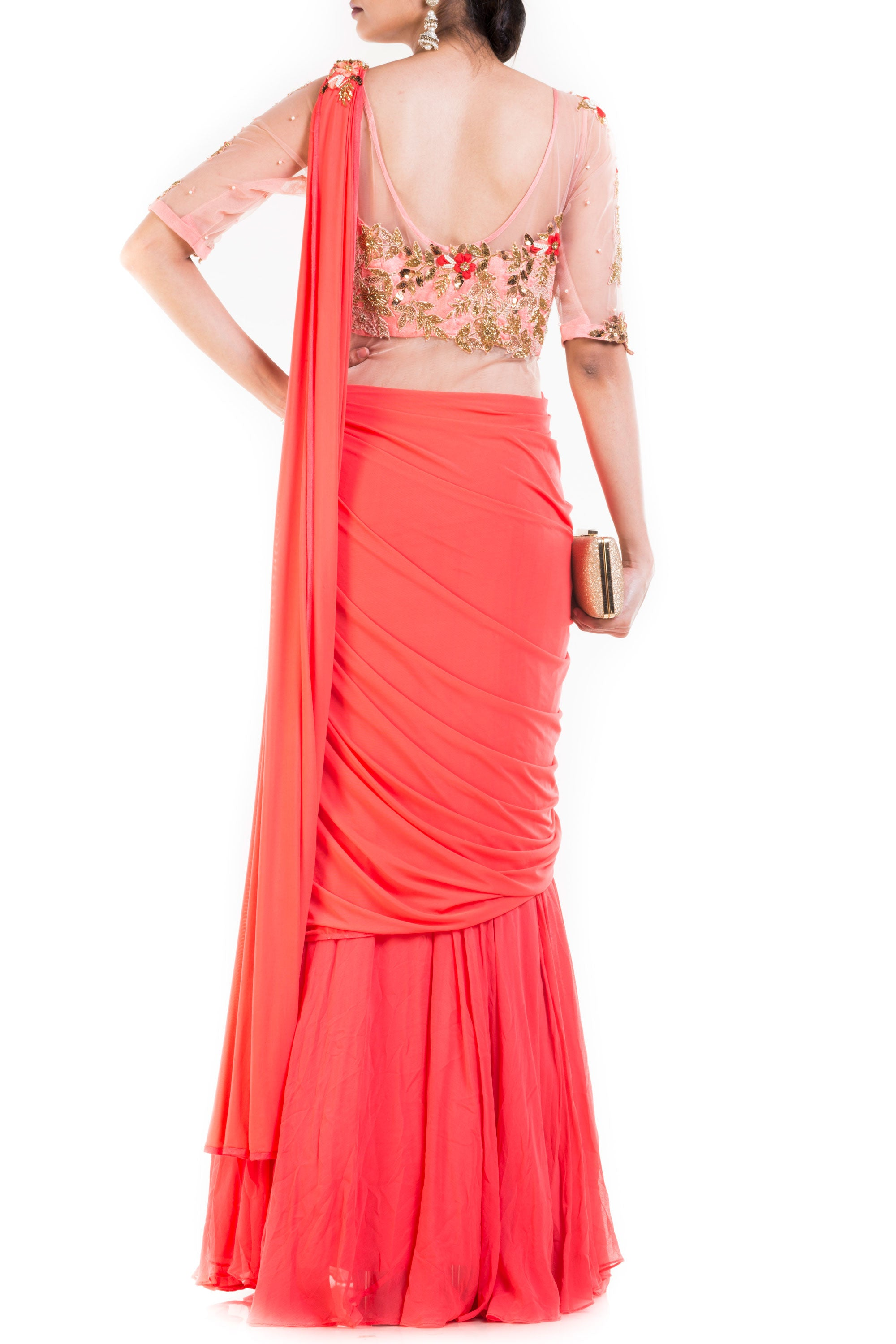 Salmon Peach Gown Saree Back