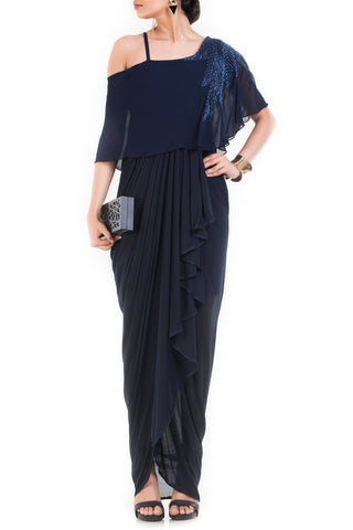 Navy Blue Lift Up Dress With One Sided Drop Shoulder Cape Front