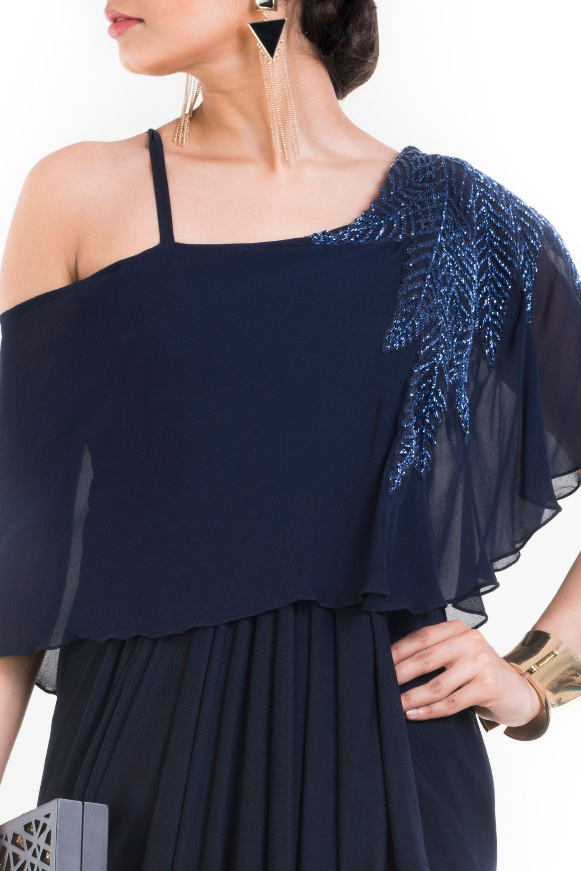 Navy Blue Lift Up Dress With One Sided Drop Shoulder Cape Closeup