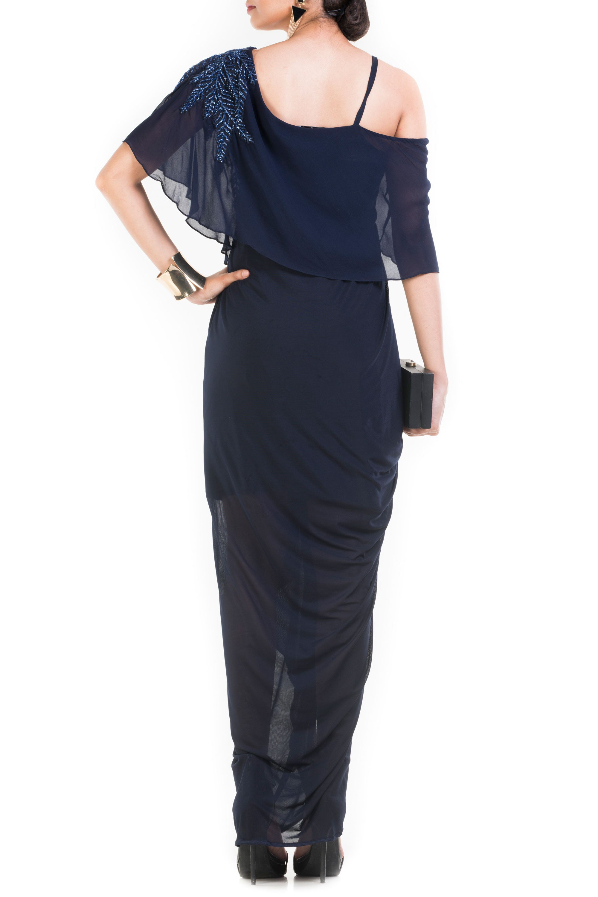 Navy Blue Lift Up Dress With One Sided Drop Shoulder Cape Back
