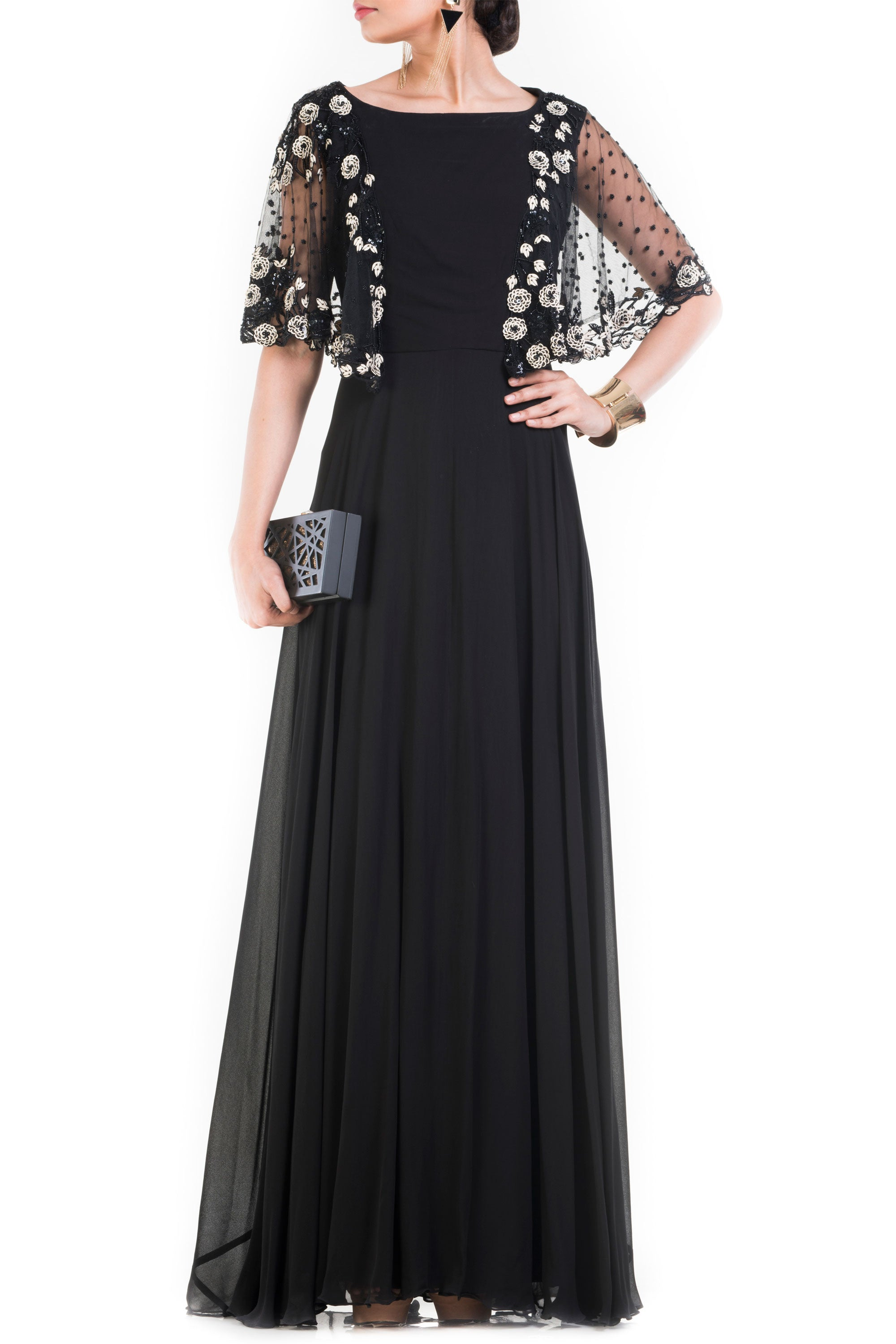 Jet Black Long Dress With Embroidered Half Cape Front