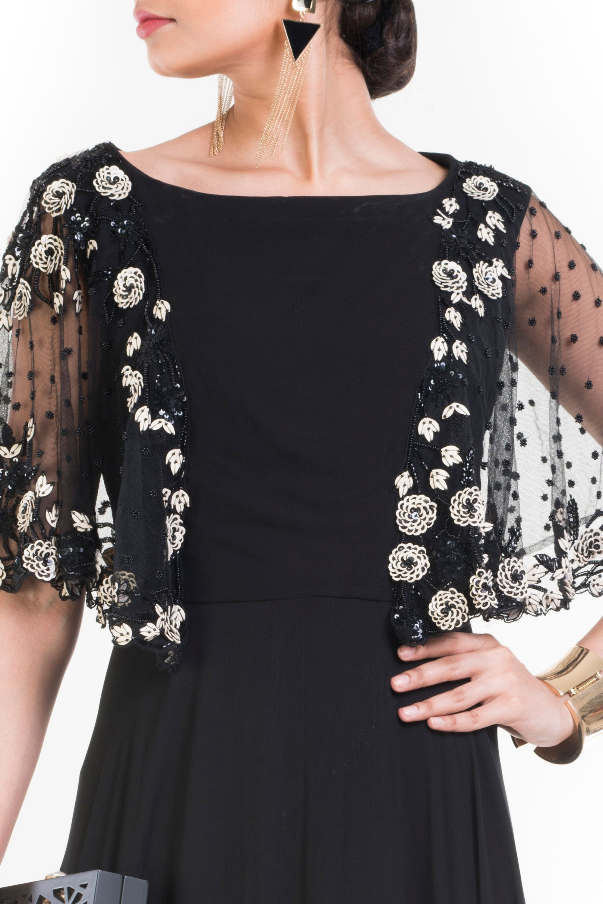 Jet Black Long Dress With Embroidered Half Cape Closeup