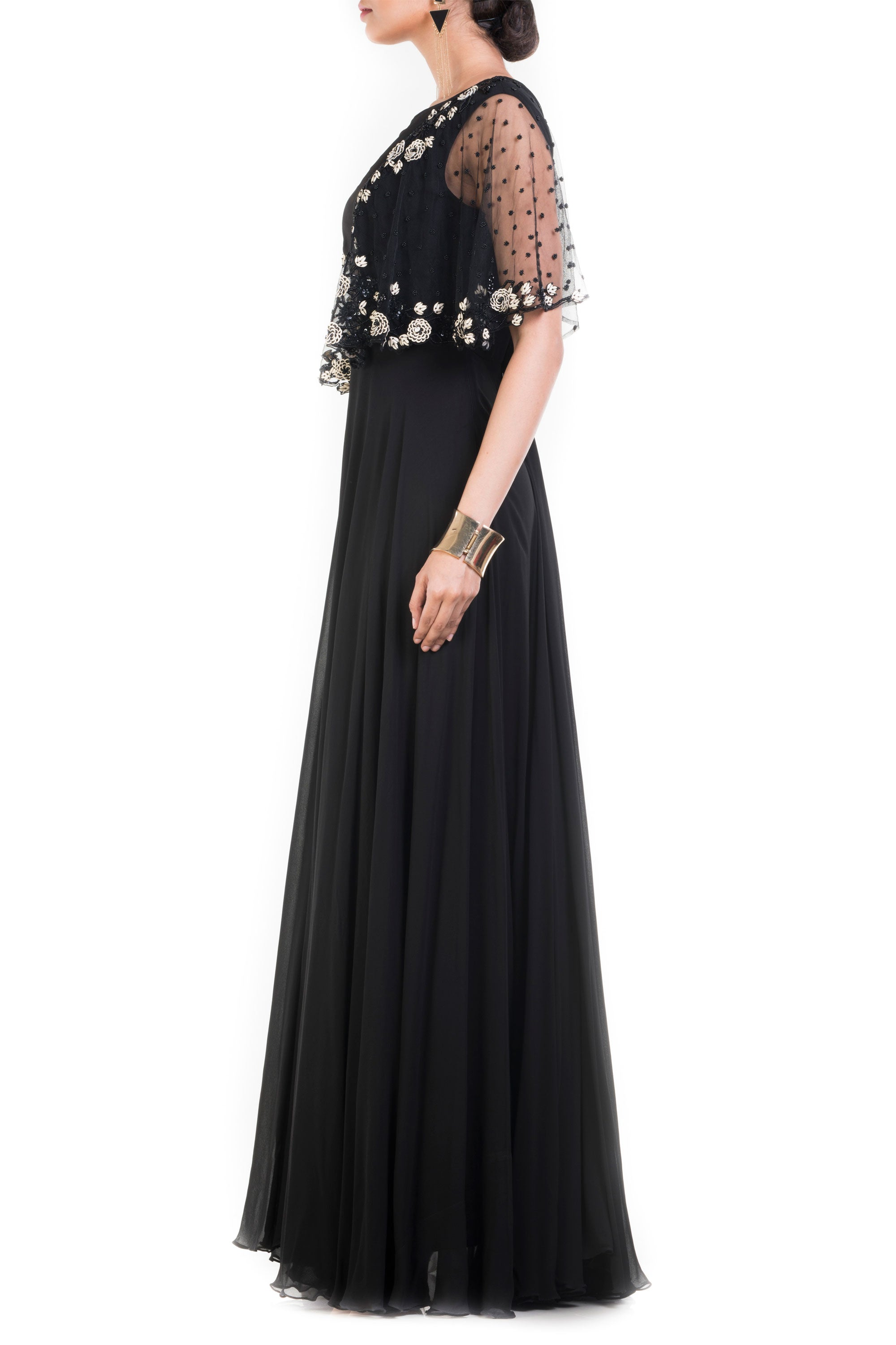 Jet Black Long Dress With Embroidered Half Cape Side