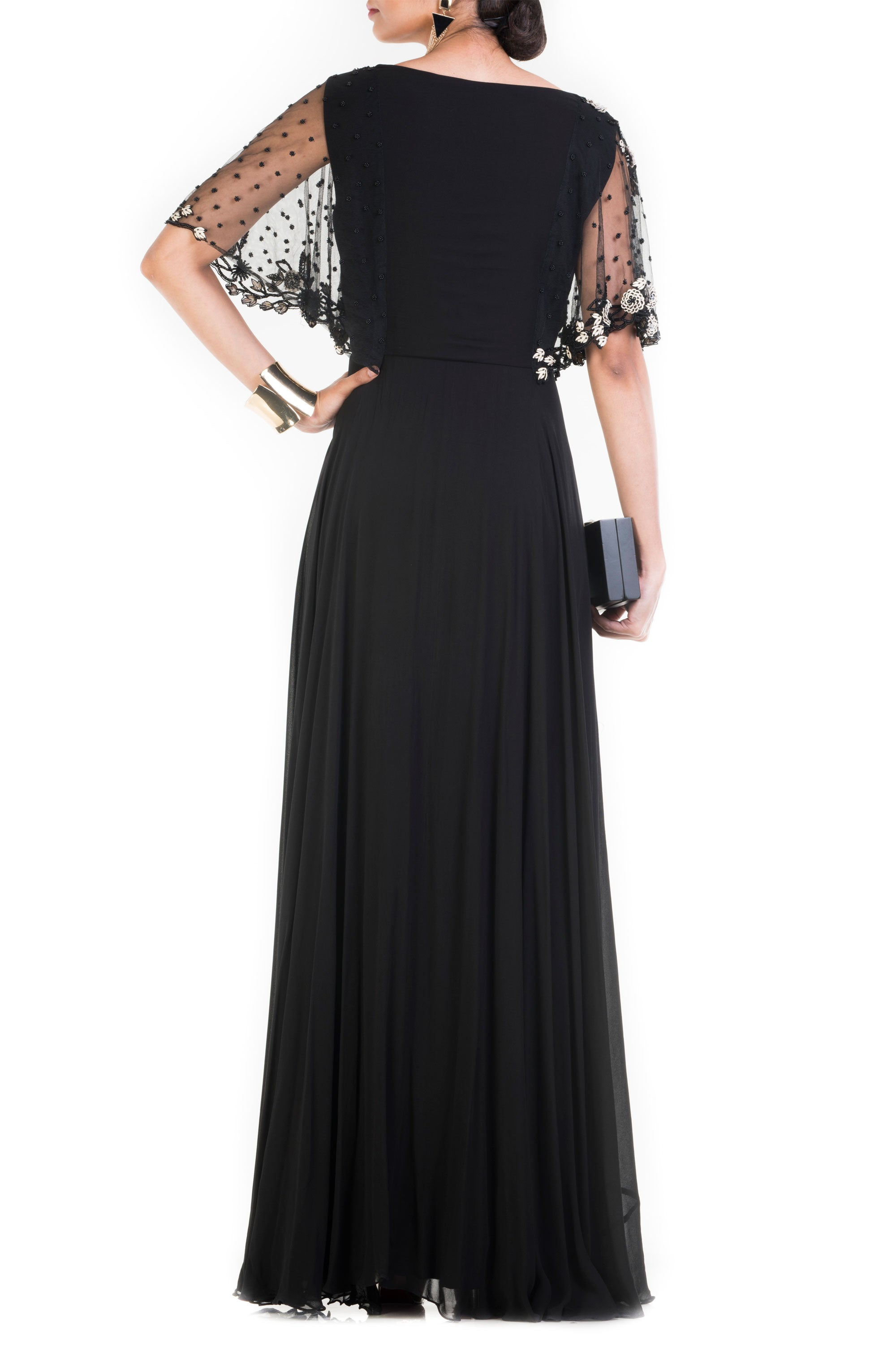 Jet Black Long Dress With Embroidered Half Cape Back