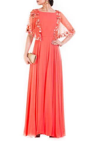 Peach Long Dress With Embroidered Half Cape Front
