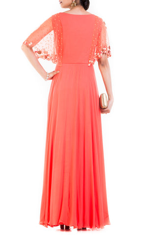 Peach Long Dress With Embroidered Half Cape