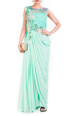 Aquamarine Draped Jumpsuit Saree Front