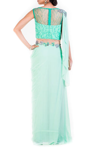 Aquamarine Green Draped Jumpsuit Saree