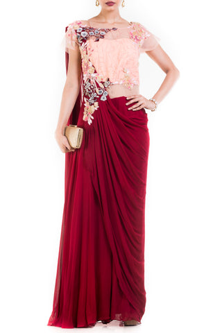 Wine & Peach Draped Jumpsuit Saree Front