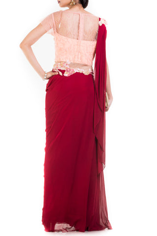 Wine & Peach Draped Jumpsuit Saree