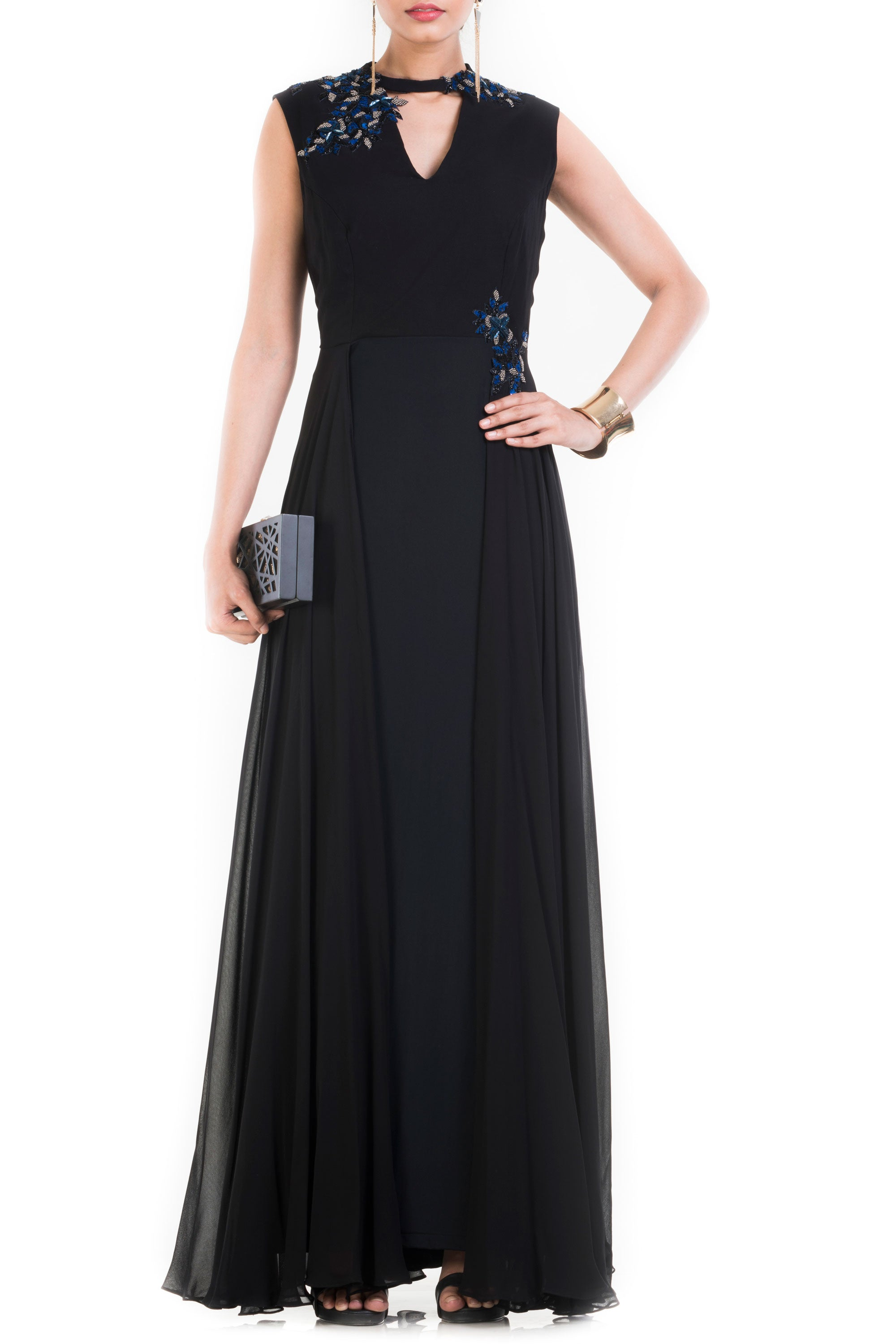 Jet Black Long V Neck Sleeveless Gown Front