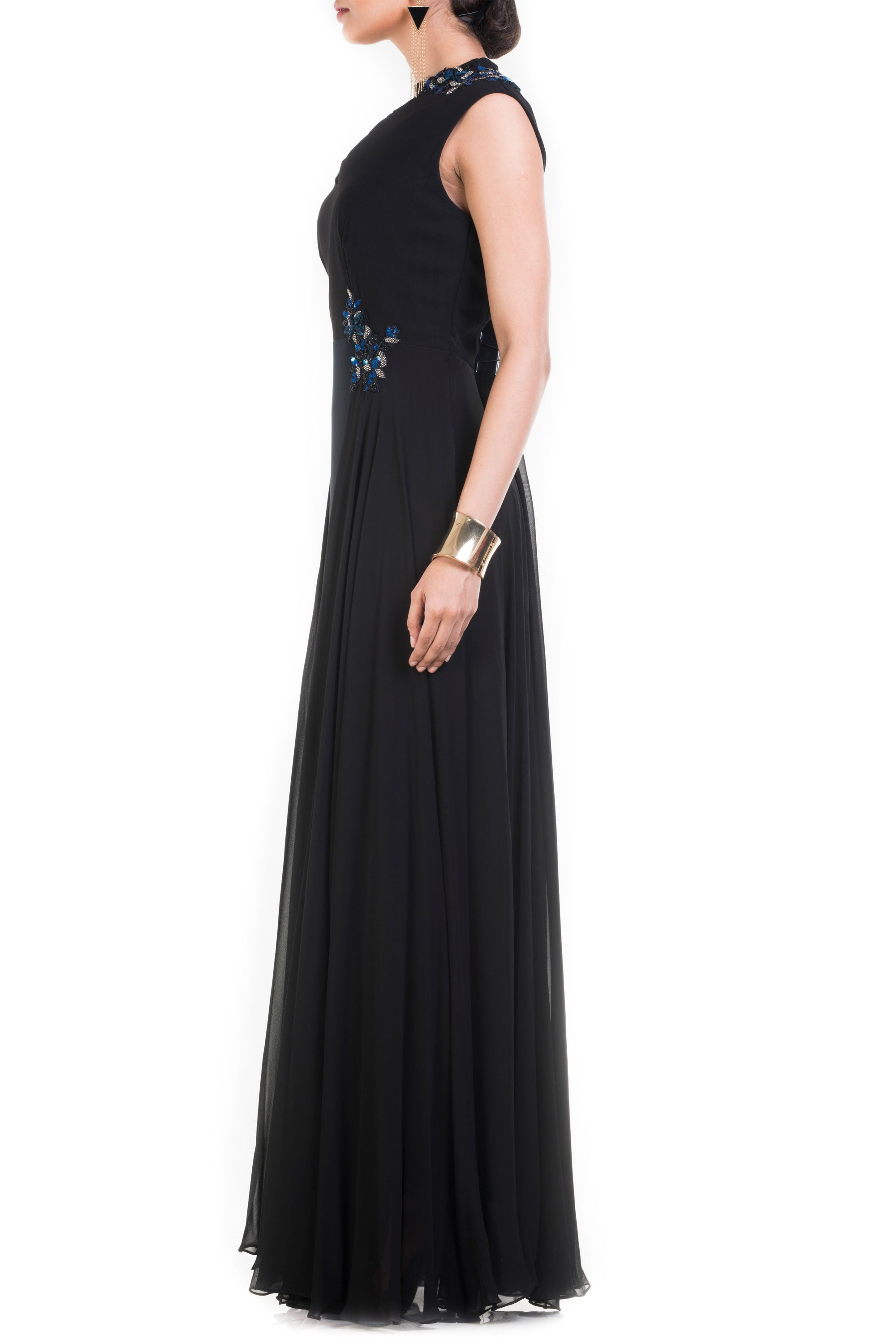 Jet Black Long V Neck Sleeveless Gown Side