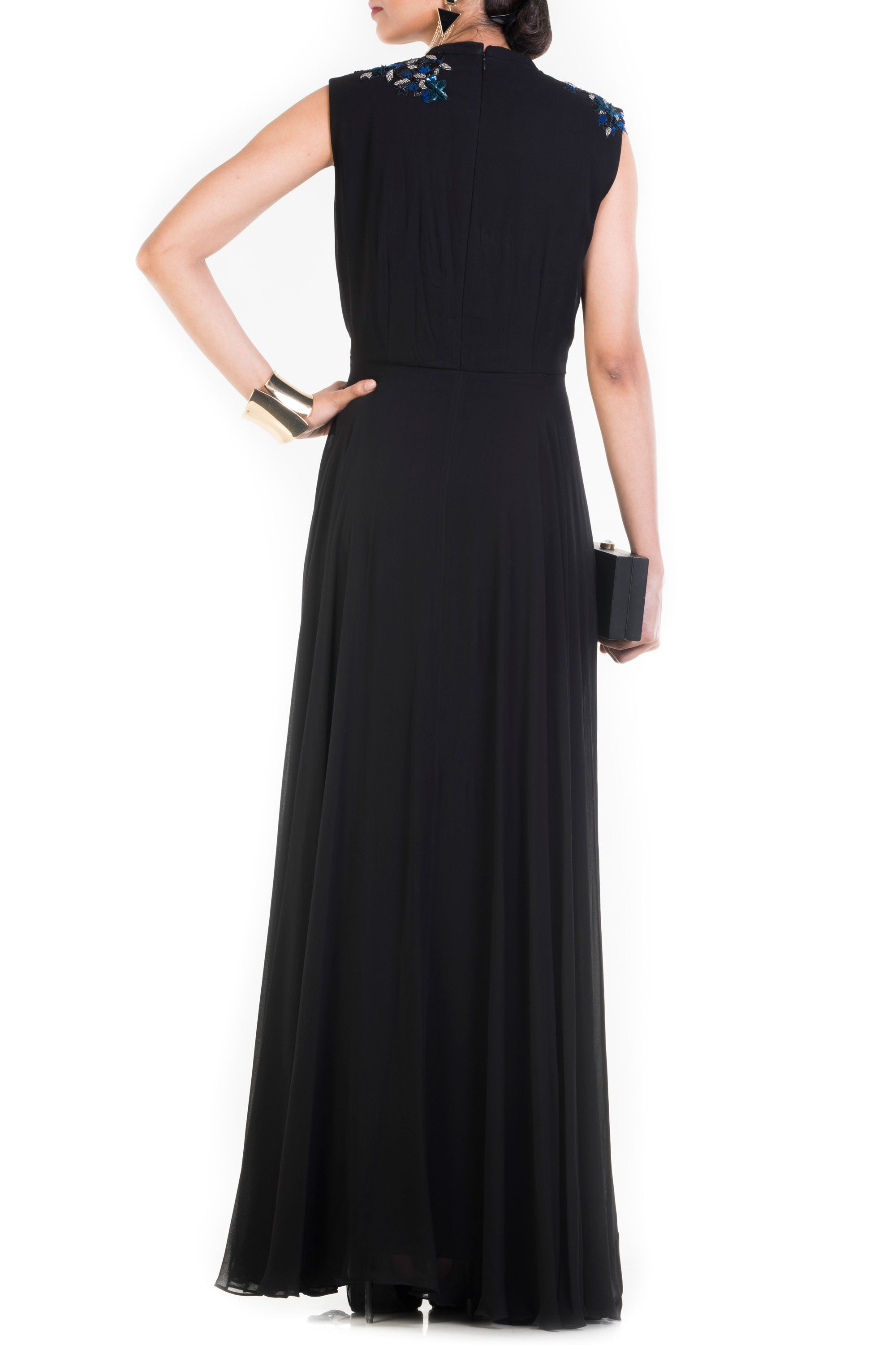 Jet Black Long V Neck Sleeveless Gown Back