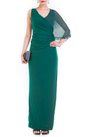 Pine Green Long Dress With One Side Cape Front