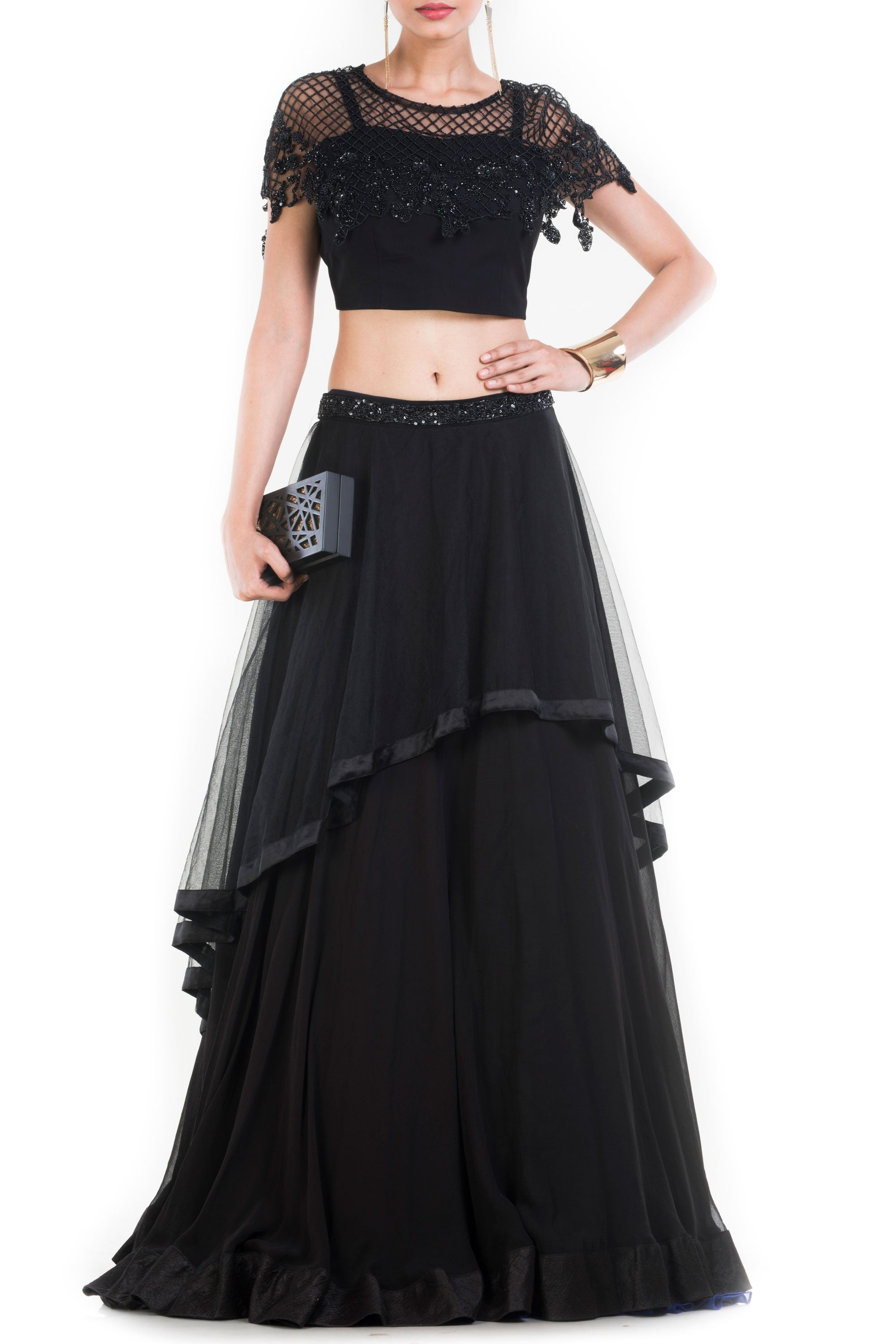 Black Layered Lehenga With Embroidered Cape & Belt Front