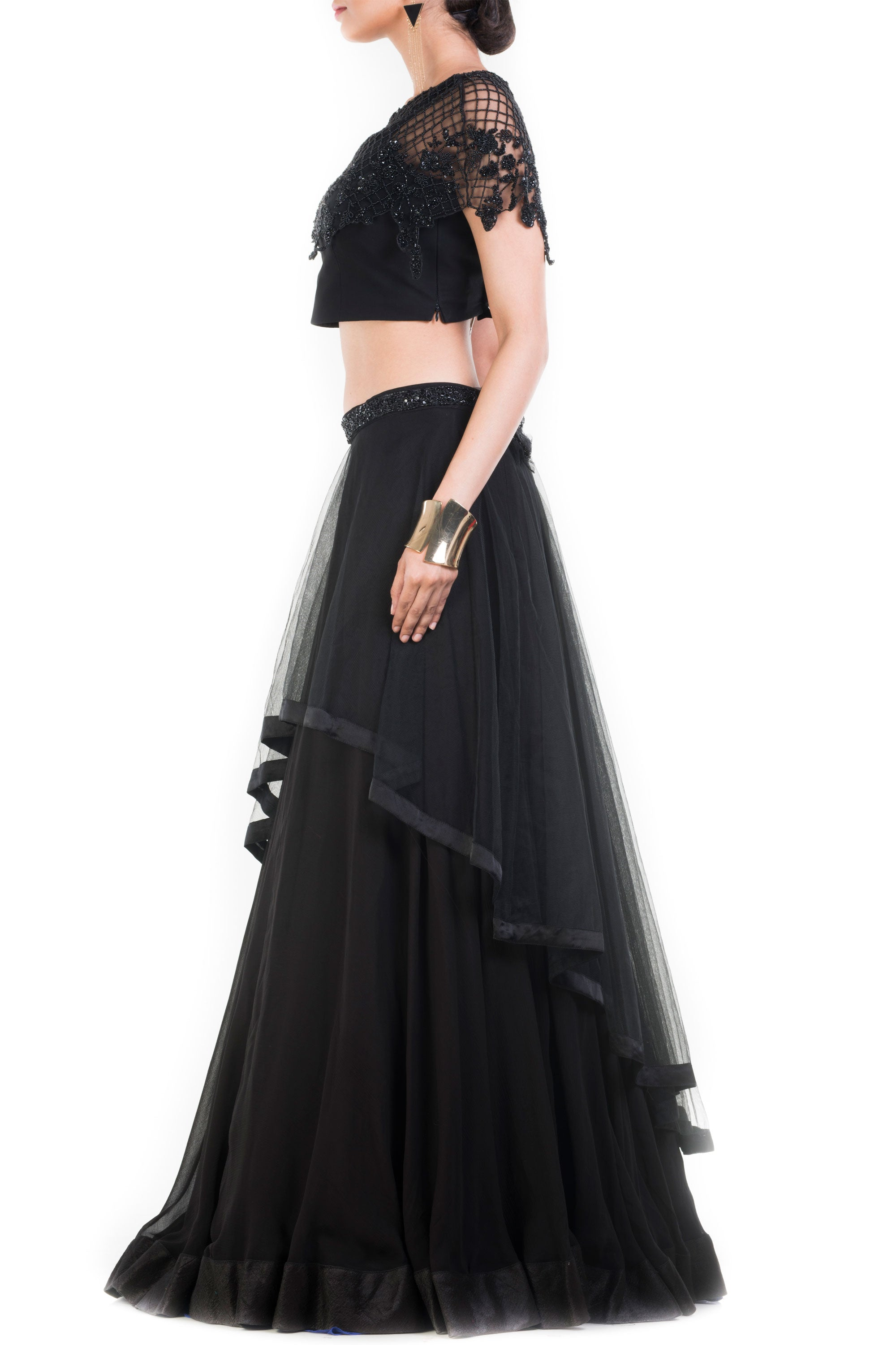 Black Layered Lehenga With Embroidered Cape & Belt Side