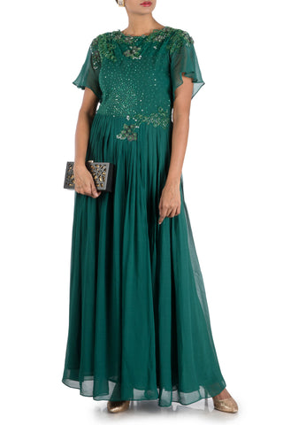 Dark Pine Flare sleeves Pleated Maxi Front
