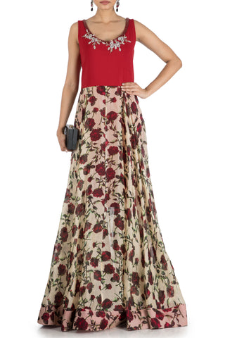 Floral Printed Flare Gown With Wine Yoke Front