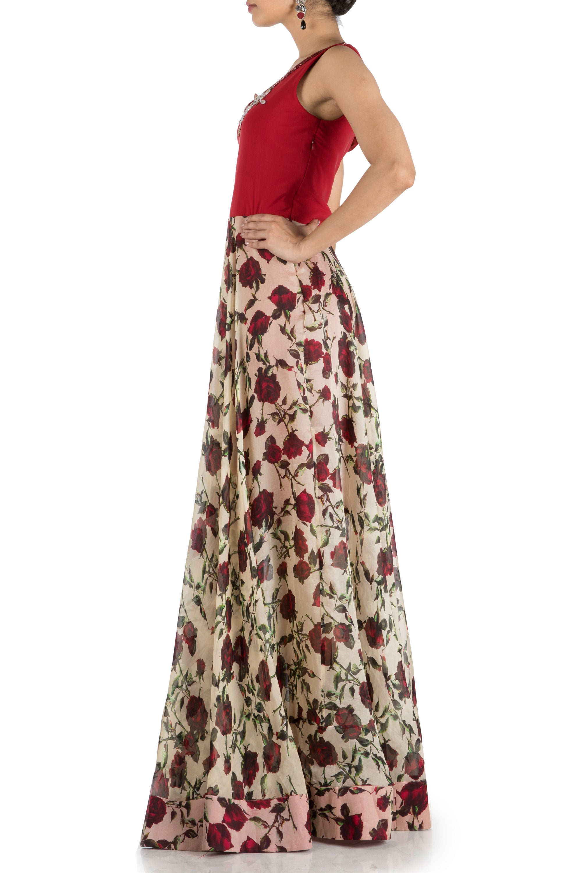 Floral Printed Flare Gown With Wine Yoke Side