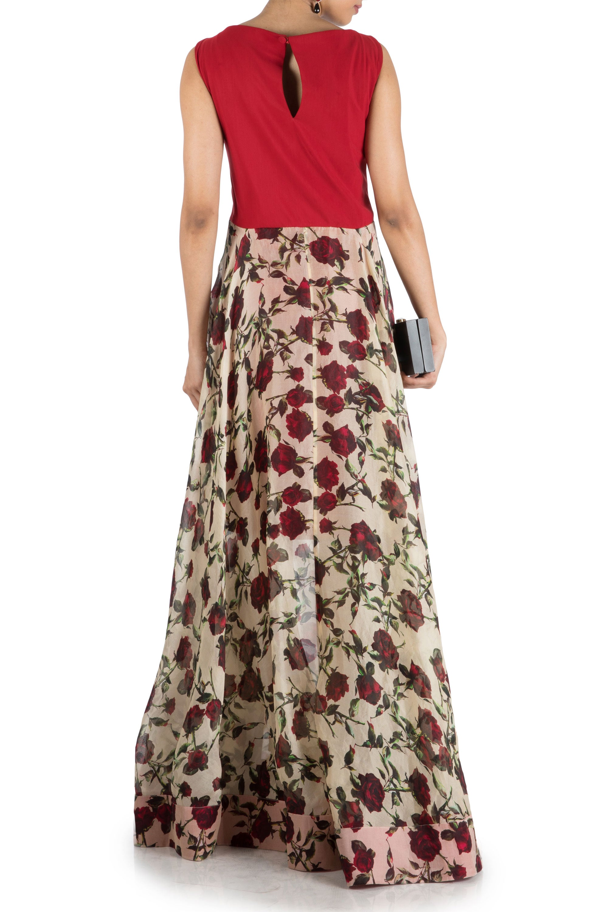 Floral Printed Flare Gown With Wine Yoke Back