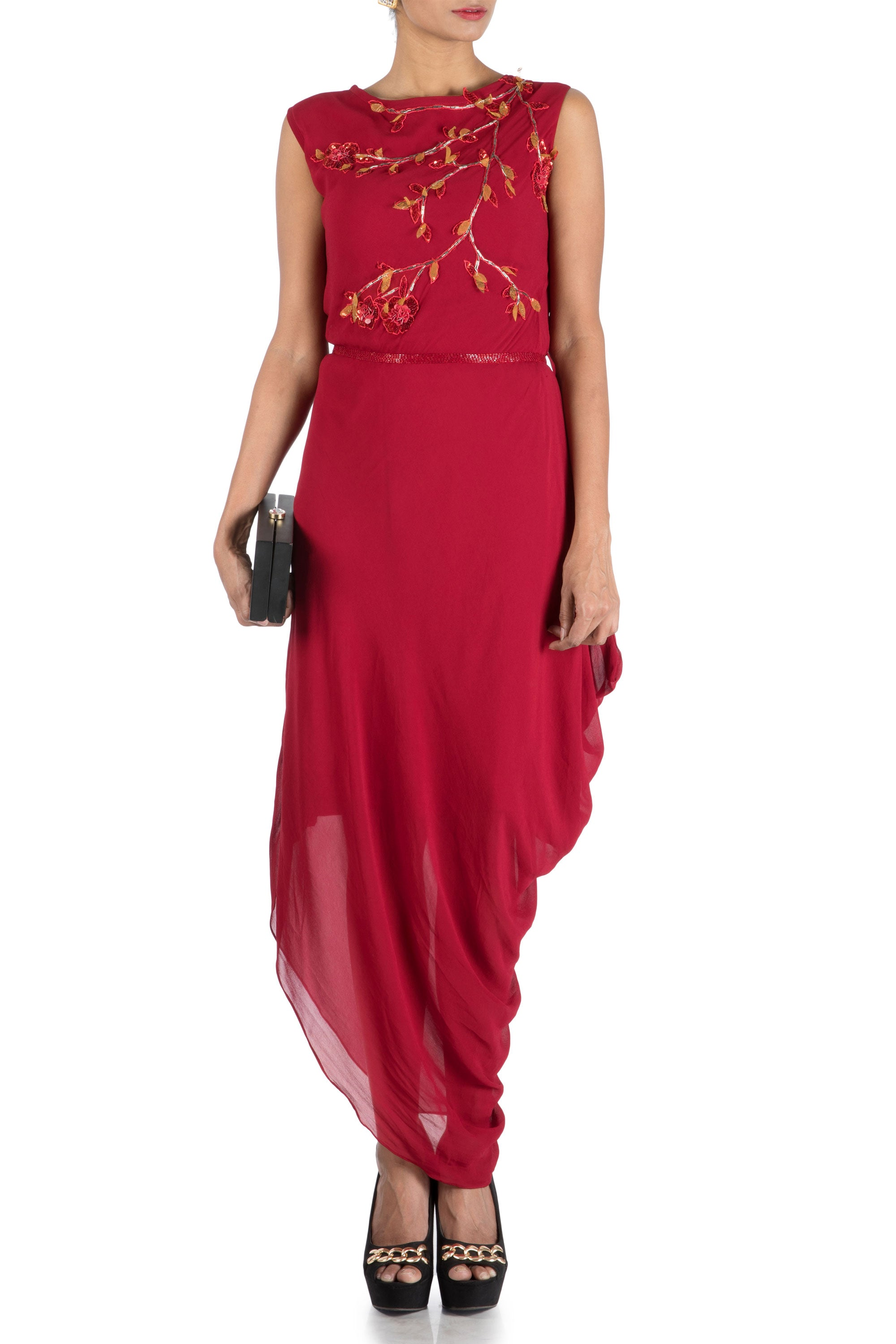 Wine Drape Dress With Embroidered Belt Front
