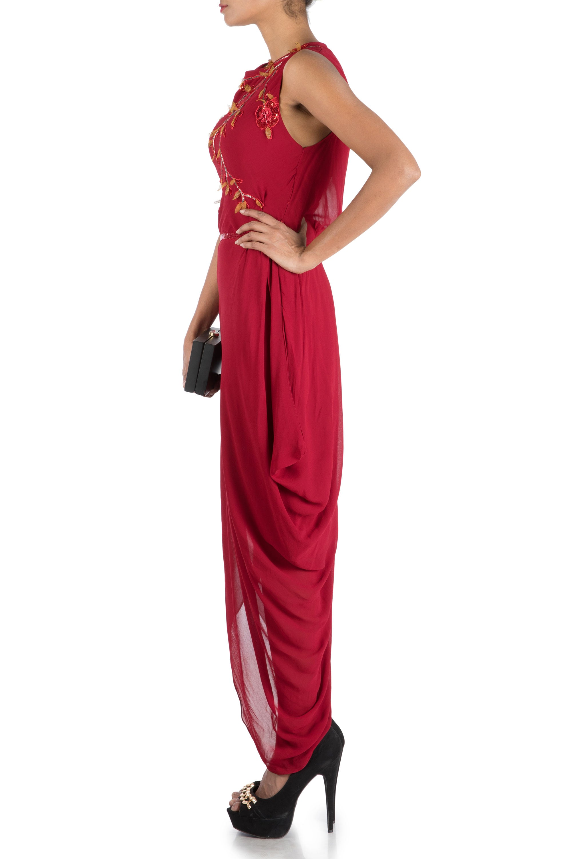 Wine Drape Dress With Embroidered Belt Side