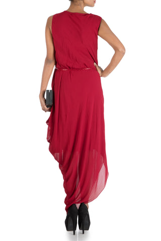 Wine Red Drape Dress With Embroidered Belt
