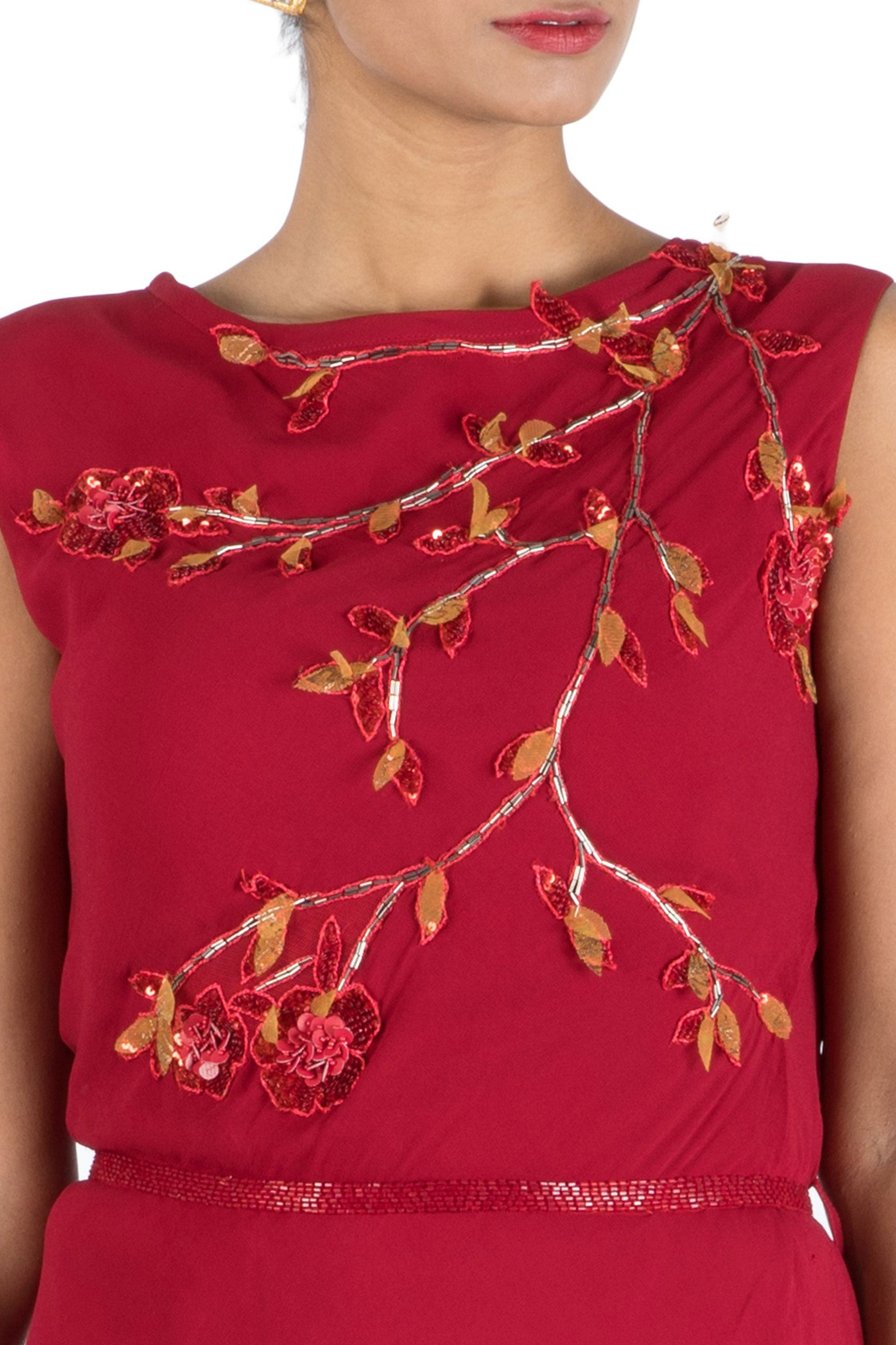 Wine Drape Dress With Embroidered Belt Closeup